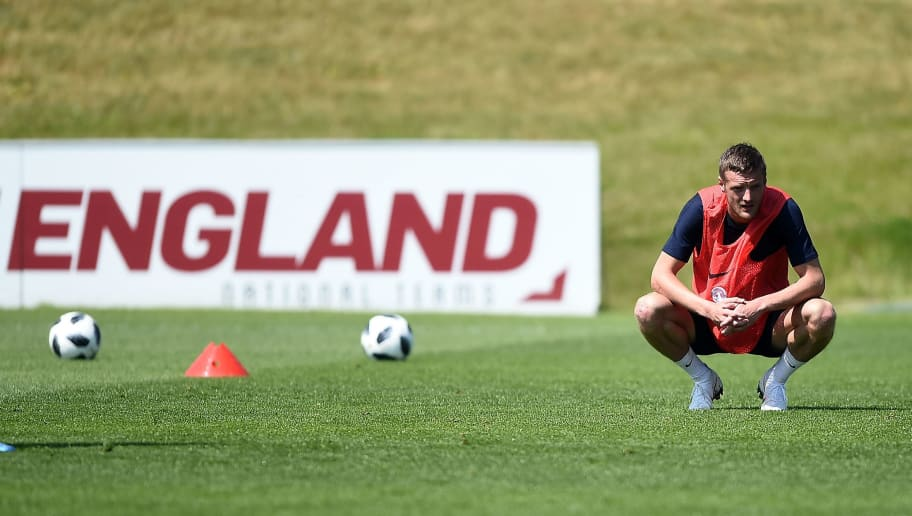 BURTON-UPON-TRENT, ENGLAND - MAY 22:  Jamie Vardy of England looks on during an England training session at St Georges Park on May 22, 2018 in Burton-upon-Trent, England.  (Photo by Nathan Stirk/Getty Images)