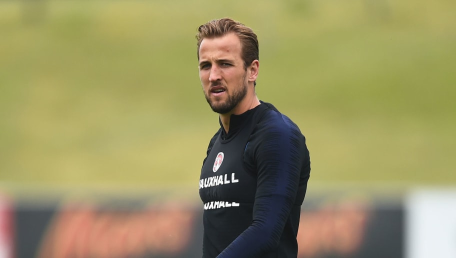 BURTON-UPON-TRENT, ENGLAND - MAY 28: Harry Kane takes part in an England training session at St Georges Park on May 28, 2018 in Burton-upon-Trent, England. (Photo by Nathan Stirk/Getty Images)