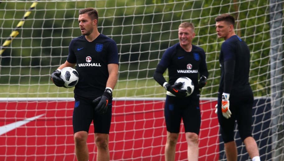 BURTON-UPON-TRENT, ENGLAND - JUNE 06:  Jack Butland, Nick Pope and Jordan Pickford of England in action during the England training session at St Georges Park on June 6, 2018 in Burton-upon-Trent, England.  (Photo by Alex Livesey/Getty Images)