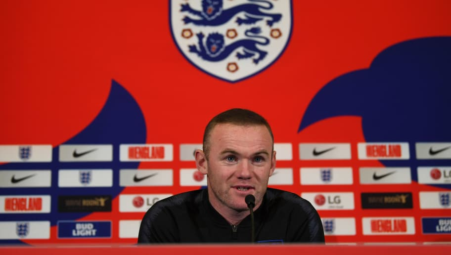 BURTON-UPON-TRENT, ENGLAND - NOVEMBER 13:  Wayne Rooney attends an England press conference at St Georges Park on November 13, 2018 in Burton-upon-Trent, England. (Photo by Gareth Copley/Getty Images)