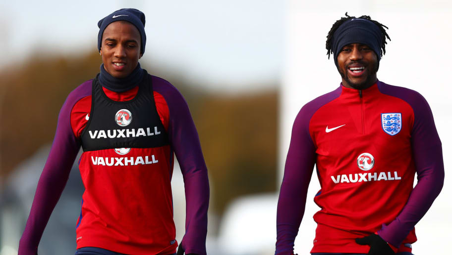 ENFIELD, ENGLAND - NOVEMBER 13:  Ashley Young of England and Danny Rose of England during an England training session ahead of the International Friendly match between England and Brazil on November 13, 2017 in Enfield, England.  (Photo by Clive Rose/Getty Images)