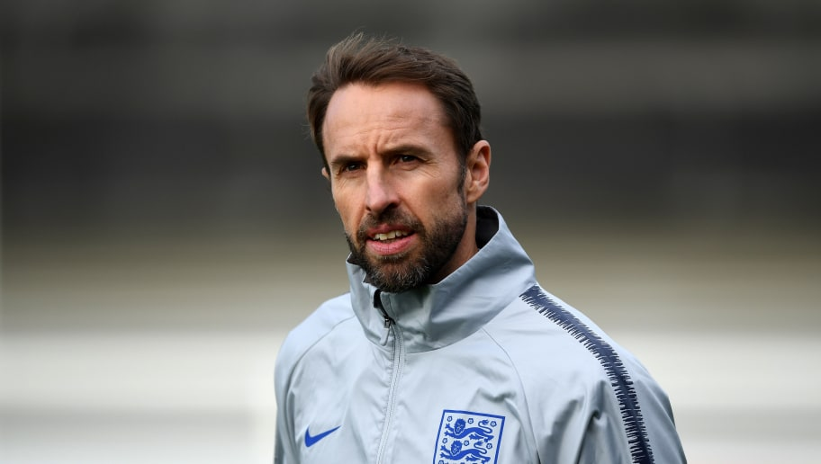BURTON-UPON-TRENT, ENGLAND - NOVEMBER 14:  Gareth Southgate, Manager of England looks on during a training session at St Georges Park on November 14, 2018 in Burton-upon-Trent, England. (Photo by Gareth Copley/Getty Images)