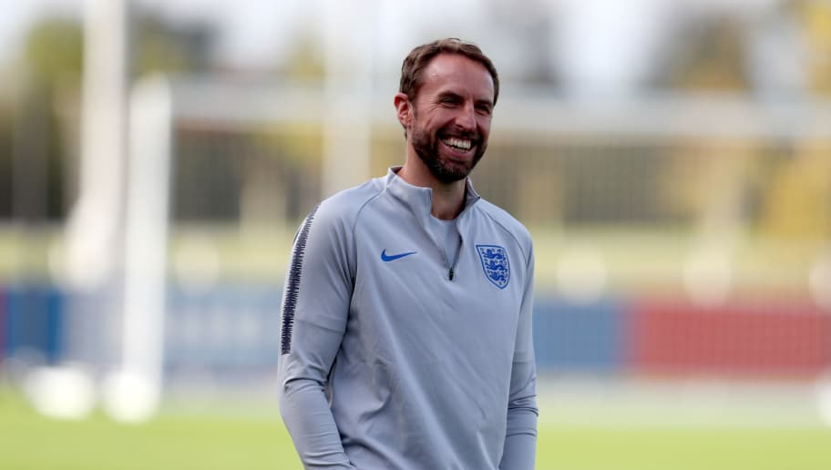 BURTON-UPON-TRENT, ENGLAND - OCTOBER 11:  Gareth Southgate, Manager of England smiles during the England Training Session at St Georges Park on October 11, 2018 in Burton-upon-Trent, England.  (Photo by Catherine Ivill/Getty Images)