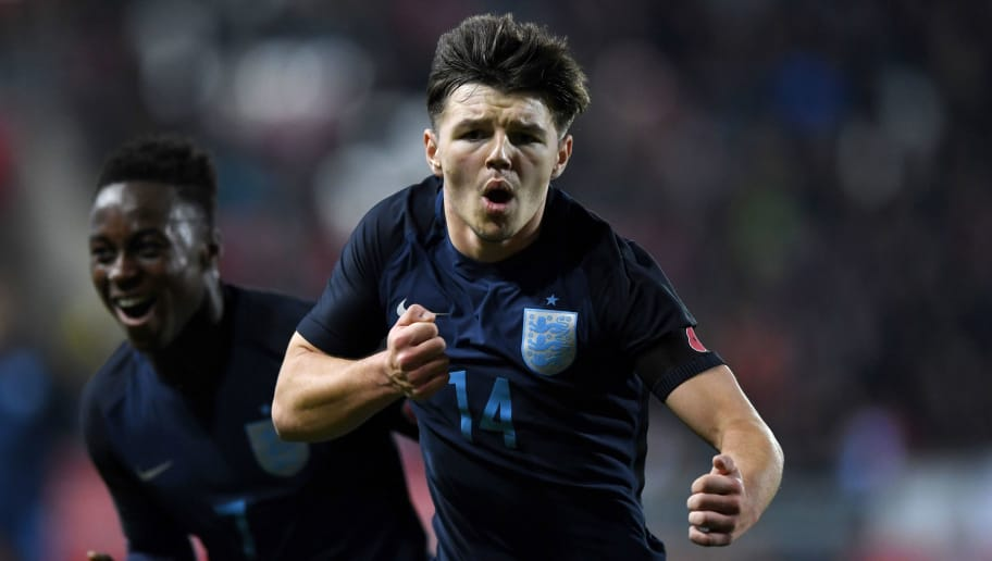 ROTHERHAM, ENGLAND - NOVEMBER 14:  Bobby Duncan of England celebrates scoring the opening goal during the  International Match between  England U17 and Germany U17 at The New York Stadium on November 14, 2017 in Rotherham, England.  (Photo by Gareth Copley/Getty Images)