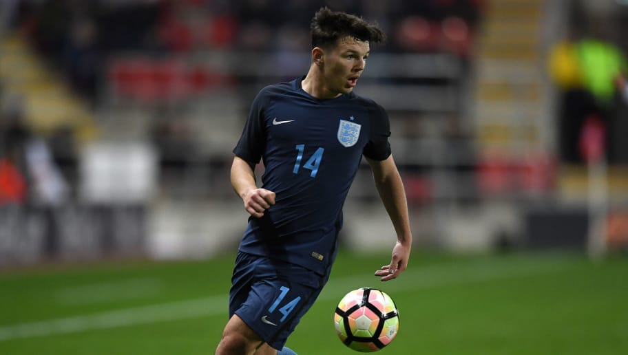 ROTHERHAM, ENGLAND - NOVEMBER 14:  Bobby Duncan of England during the  International Match between  England U17 and Germany U17 at The New York Stadium on November 14, 2017 in Rotherham, England.  (Photo by Gareth Copley/Getty Images)
