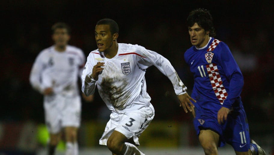 SWINDON, UNITED KINGDOM - FEBRUARY 05:  Ryan Bertrand of England battles for the ball with Sandi Hudorovic of Croatia during the U19 international match between England U19's and Croatia U19's at The County Ground on February 5, 2008 in Swindon, England.  (Photo by Paul Gilham/Getty Images)