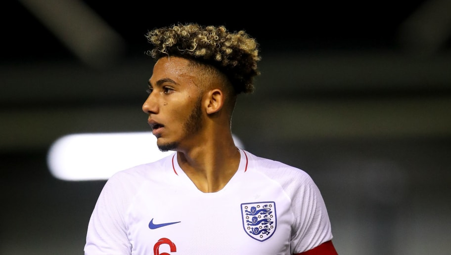 BLACKPOOL, ENGLAND - OCTOBER 11: Lloyd Kelly of England U20 during the Under 20 International Friendly match between England and Italy at Mill Farm on October 11, 2018 in Blackpool, England. (Photo by Robbie Jay Barratt - AMA/Getty Images)