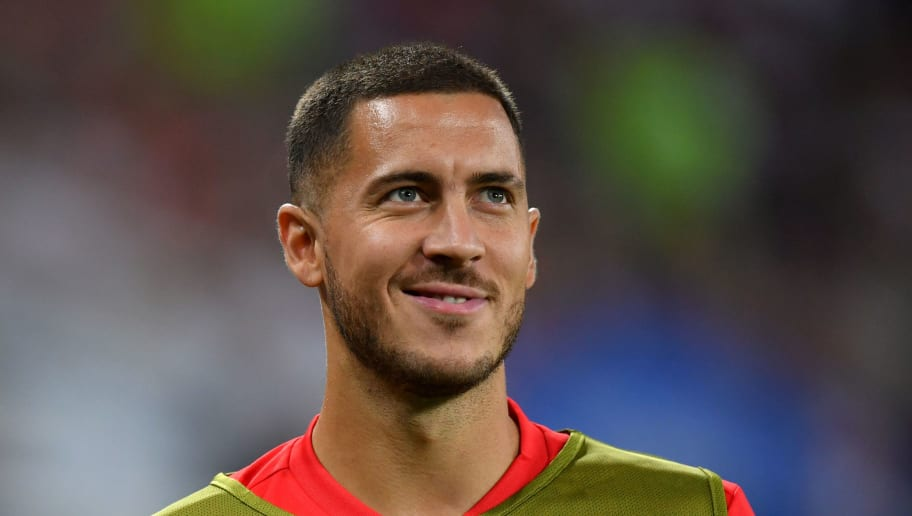 KALININGRAD, RUSSIA - JUNE 28:  Eden Hazard of Belgium warms up during the 2018 FIFA World Cup Russia group G match between England and Belgium at Kaliningrad Stadium on June 28, 2018 in Kaliningrad, Russia.  (Photo by Dan Mullan/Getty Images)