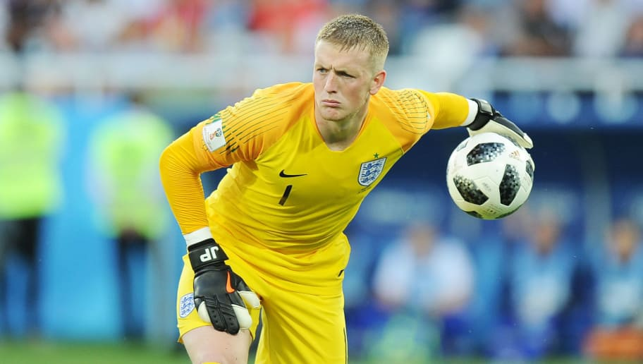KALININGRAD, RUSSIA - JUNE 28: Jordan Pickford of England in action during the 2018 FIFA World Cup Russia group G match between England and Belgium at Kaliningrad Stadium on June 28, 2018 in Kaliningrad, Russia. (Photo by Norbert Barczyk/PressFocus/MB Media/Getty Images)