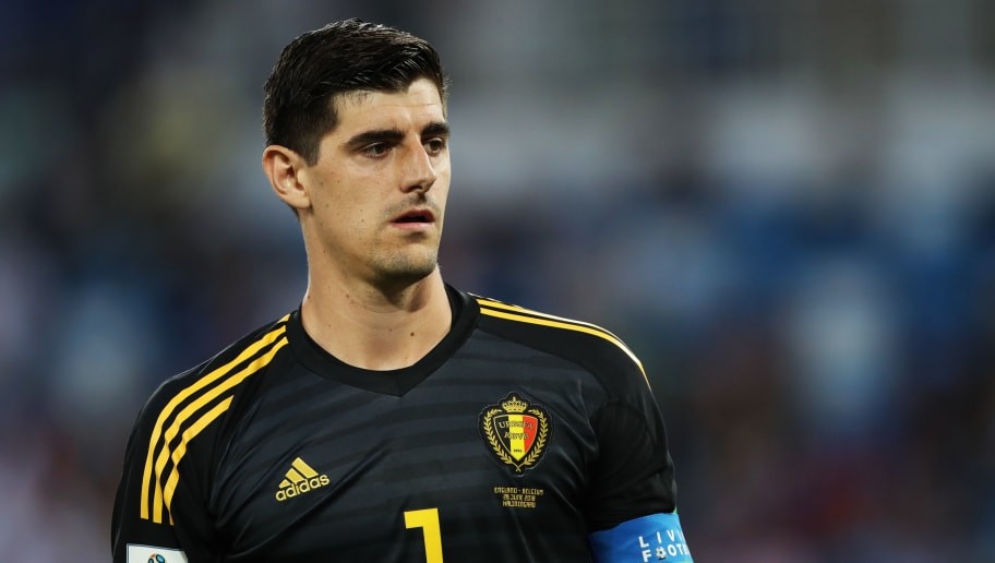 KALININGRAD, RUSSIA - JUNE 28: Belgium goalkeeper Thibaut Courtois is seen during the 2018 FIFA World Cup Russia group G match between England and Belgium at Kaliningrad Stadium on June 28, 2018 in Kaliningrad, Russia. (Photo by Ian MacNicol/Getty Images)