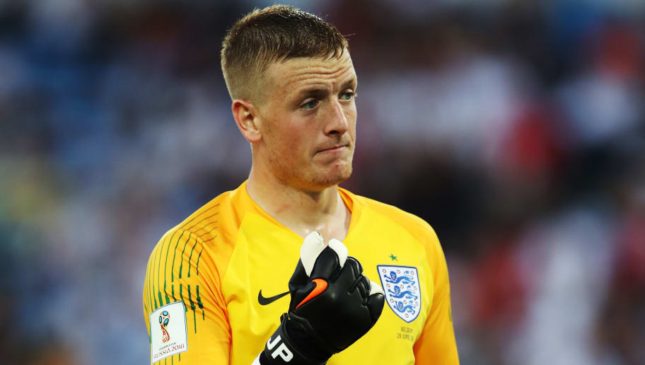 KALININGRAD, RUSSIA - JUNE 28: England goalkeeper Jordan Pickford is seen during the 2018 FIFA World Cup Russia group G match between England and Belgium at Kaliningrad Stadium on June 28, 2018 in Kaliningrad, Russia. (Photo by Ian MacNicol/Getty Images)