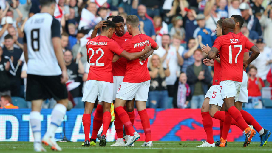 LEEDS, ENGLAND - JUNE 07:  Marcus Rashford of England celebrates with Jordan Henderson and Trent Alexander-Arnold of England during the International Friendly match between England and Costa Rica at Elland Road on June 7, 2018 in Leeds, England.  (Photo by Alex Livesey/Getty Images)