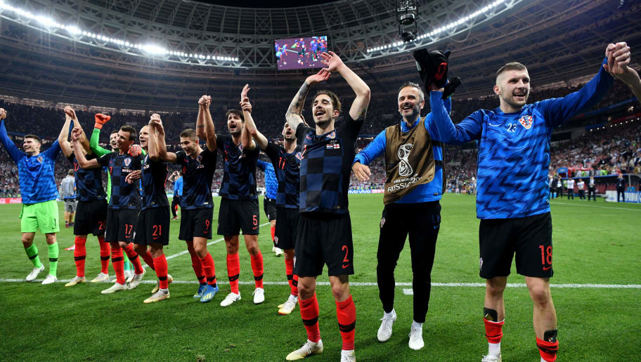 MOSCOW, RUSSIA - JULY 11:  Croatia players celebrate following their sides victory in the 2018 FIFA World Cup Russia Semi Final match between England and Croatia at Luzhniki Stadium on July 11, 2018 in Moscow, Russia.  (Photo by Dan Mullan/Getty Images)