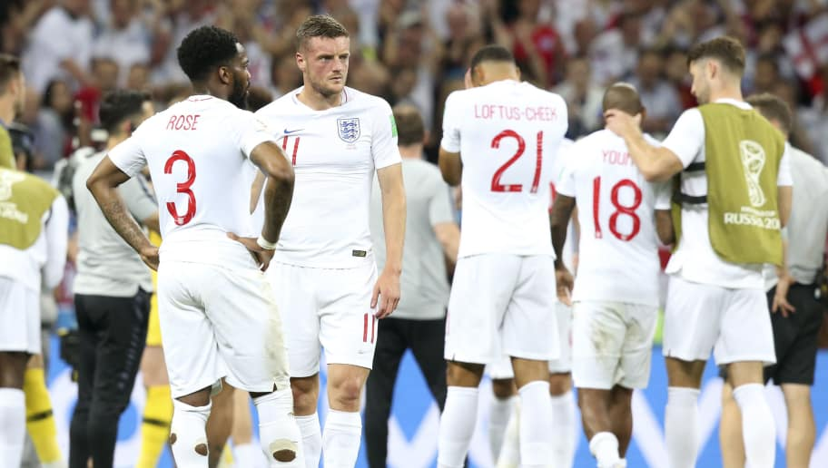 MOSCOW, RUSSIA - JULY 11: Danny Rose, Jamie Vardy and teammates are dejected following the 2018 FIFA World Cup Russia Semi Final match between England and Croatia at Luzhniki Stadium on July 11, 2018 in Moscow, Russia. (Photo by Jean Catuffe/Getty Images)
