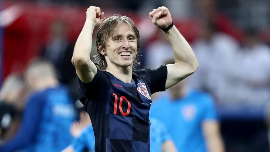 MOSCOW, RUSSIA - JULY 11:  Luka Modric of Croatia celebrates victory following the 2018 FIFA World Cup Russia Semi Final match between England and Croatia at Luzhniki Stadium on July 11, 2018 in Moscow, Russia.  (Photo by Ryan Pierse/Getty Images)