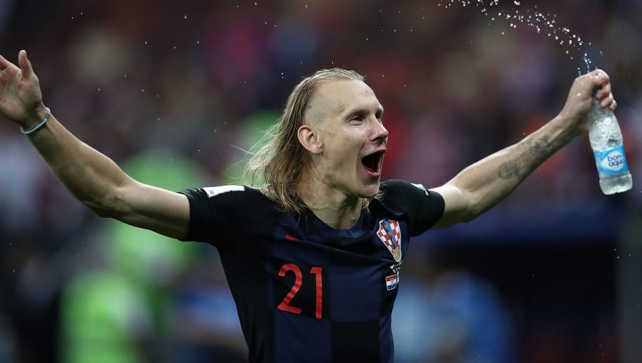 MOSCOW, RUSSIA - JULY 11:  Domagoj Vida celebrates after the 2018 FIFA World Cup Russia Semi Final match between England and Croatia at Luzhniki Stadium on July 11, 2018 in Moscow, Russia.  (Photo by Amin Mohammad Jamali/Getty Images)