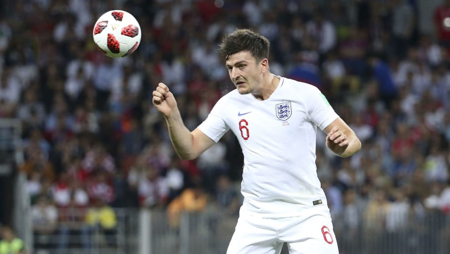 MOSCOW, RUSSIA - JULY 11: Harry Maguire of England during the 2018 FIFA World Cup Russia Semi Final match between England and Croatia at Luzhniki Stadium on July 11, 2018 in Moscow, Russia. (Photo by Jean Catuffe/Getty Images)