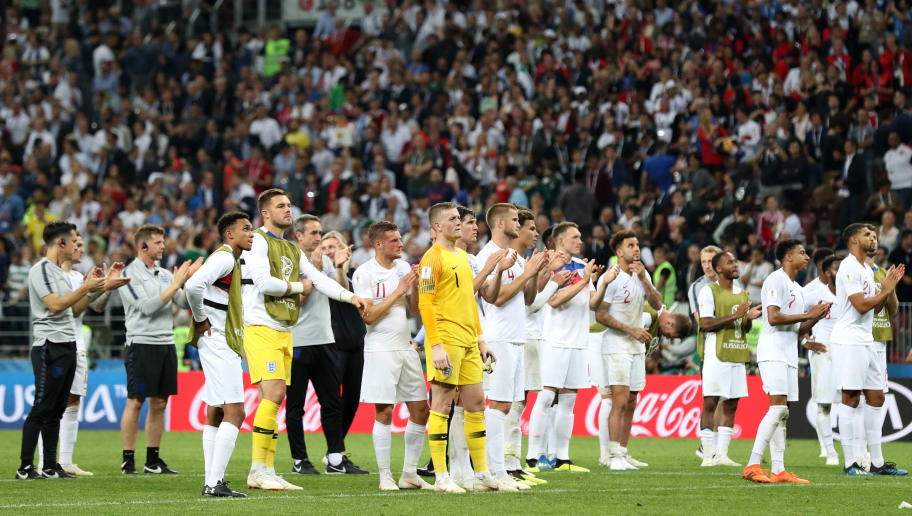MOSCOW, RUSSIA - JULY 11:  Players of England applaud their fans following their loss to Croatia in the 2018 FIFA World Cup Russia Semi Final match between England and Croatia at Luzhniki Stadium on July 11, 2018 in Moscow, Russia.  (Photo by Clive Rose/Getty Images)
