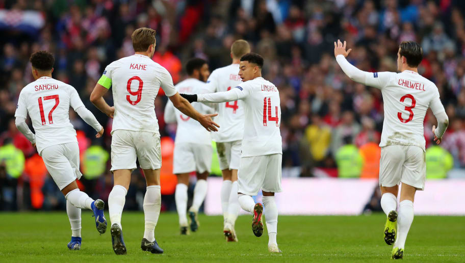 LONDON, ENGLAND - NOVEMBER 18:  Jesse Lingard of England celebrates with teammate Harry Kane after scoring his team's first goal during the UEFA Nations League A group four match between England and Croatia at Wembley Stadium on November 18, 2018 in London, United Kingdom.  (Photo by Catherine Ivill/Getty Images)