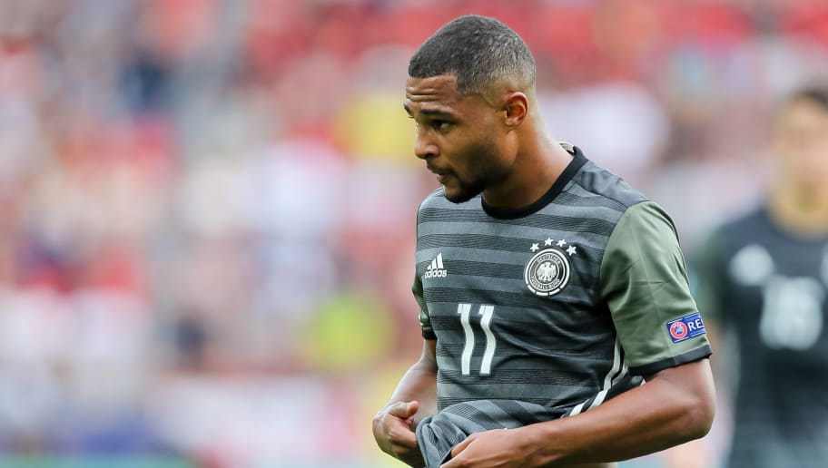 TYCHY, POLAND - JUNE 27: Serge Gnabry of Germany looks on during the UEFA European Under-21 Championship Semi Final match between England and Germany at Tychy Stadium on June 27, 2017 in Tychy, Poland. (Photo by TF-Images/Getty Images)