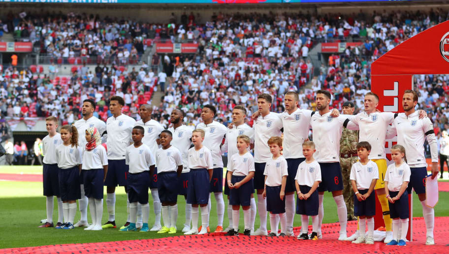 LONDON, ENGLAND - JUNE 02: The England team line up before the International Friendly match between England and Nigeria at Wembley Stadium on June 2, 2018 in London, England. (Photo by Catherine Ivill/Getty Images)