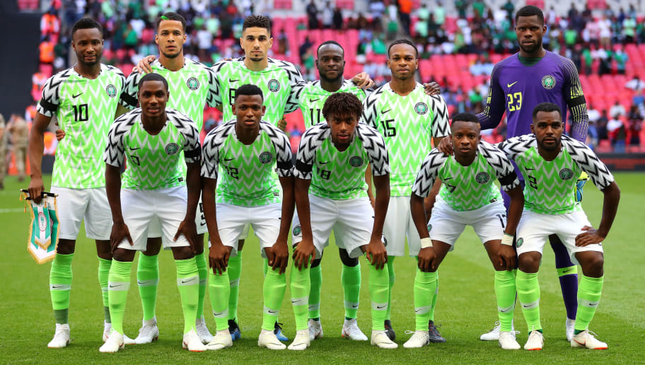 LONDON, ENGLAND - JUNE 02: The Nigeria team pose for a team photo prior to the International Friendly match between England and Nigeria at Wembley Stadium on June 2, 2018 in London, England.  (Photo by Catherine Ivill/Getty Images)