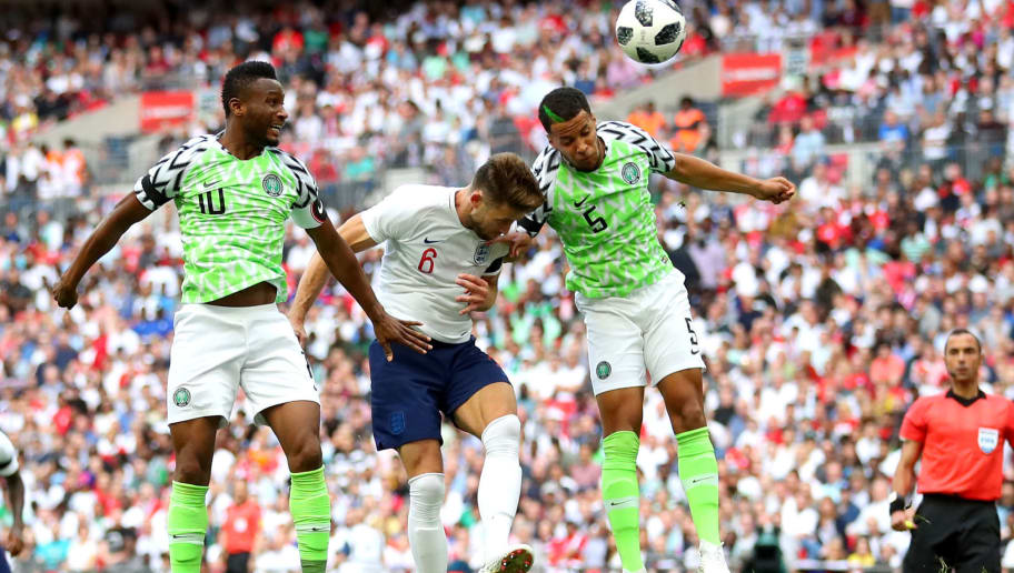 LONDON, ENGLAND - JUNE 02: Gary Cahill of England scores his sides first goal during the International Friendly match between England and Nigeria at Wembley Stadium on June 2, 2018 in London, England.  (Photo by Catherine Ivill/Getty Images)