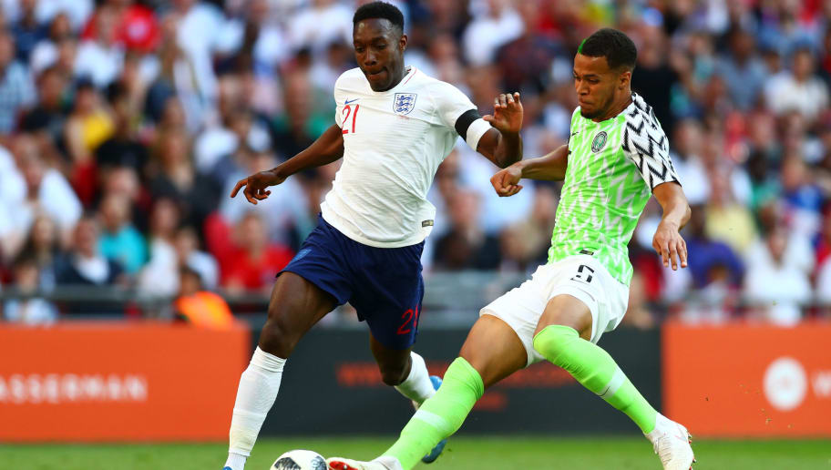 LONDON, ENGLAND - JUNE 02:  Danny Welbeck of England is challenged by Ilias Haddad of Nigeria as he attempts to shoot during the International Friendly match between England and Nigeria at Wembley Stadium on June 2, 2018 in London, England.  (Photo by Clive Rose/Getty Images)
