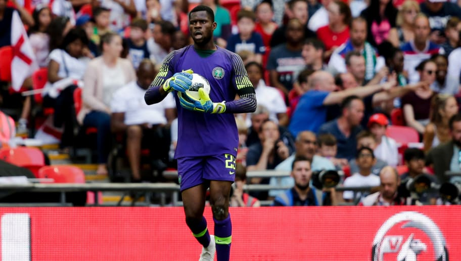 LONDON, UNITED KINGDOM - JUNE 2: Francis Uzoho of Nigeria during the  International Friendly match between England  v Nigeria  at the Wembley Stadium on June 2, 2018 in London United Kingdom (Photo by Erwin Spek/Soccrates/Getty Images)