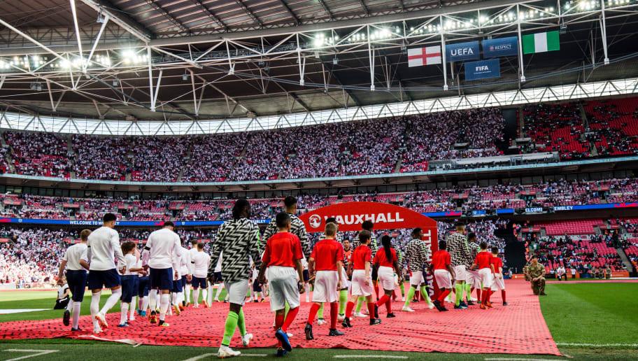 LONDON, UNITED KINGDOM - JUNE 2: (L-R) Francis Uzoho of Nigeria, Bryan Idowu of Nigeria, William Troost Ekong of Nigeria, Leon Balogun of Nigeria, Odion Ighalo of Nigeria, John Obi Mikel of Nigeria, Victor Moses of Nigeria, Abdullahi Shehu of Nigeria, Joel Obi of Nigeria, Ogenyi Onazi of Nigeria, Alex Iwobi of Nigeria during the  International Friendly match between England  v Nigeria  at the Wembley Stadium on June 2, 2018 in London United Kingdom (Photo by Erwin Spek/Soccrates/Getty Images)
