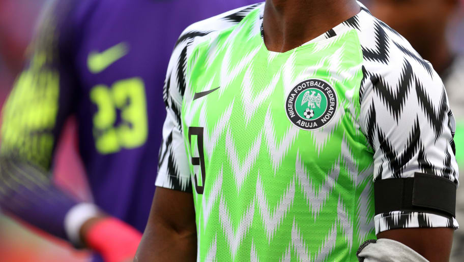 LONDON, ENGLAND - JUNE 02: Detail of the Nigeria badge and shirt during the International Friendly match between England and Nigeria at Wembley Stadium on June 2, 2018 in London, England. (Photo by Catherine Ivill/Getty Images)