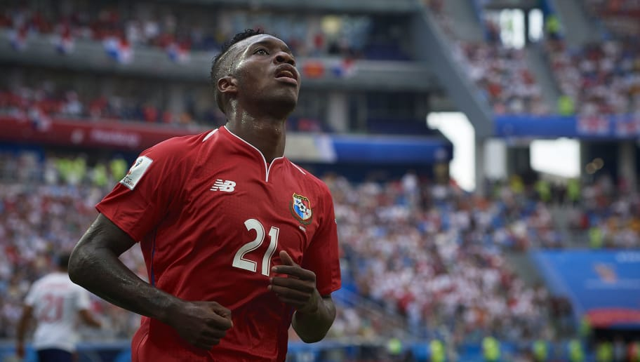 NIZHNY NOVGOROD, RUSSIA - JUNE 24:  Jose Luis Rodriguez of Panama reacts during the 2018 FIFA World Cup Russia group G match between England and Panama at Nizhny Novgorod Stadium on June 24, 2018 in Nizhny Novgorod, Russia.  (Photo by Quality Sport Images/Getty Images)