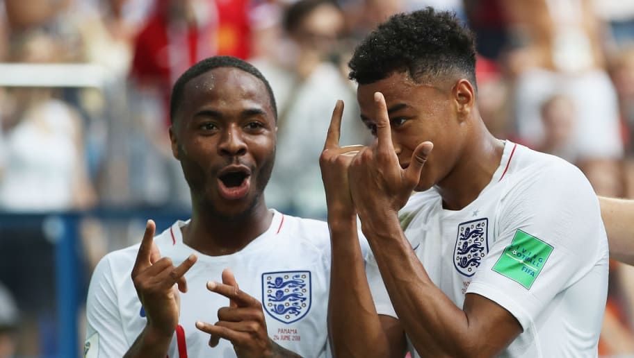 NIZHNIY NOVGOROD, RUSSIA - JUNE 24:  Jesse Lingard of England celebrates after scoring his team's third goal with team mate Raheem Sterling during the 2018 FIFA World Cup Russia group G match between England and Panama at Nizhniy Novgorod Stadium on June 24, 2018 in Nizhniy Novgorod, Russia.  (Photo by Clive Brunskill/Getty Images)