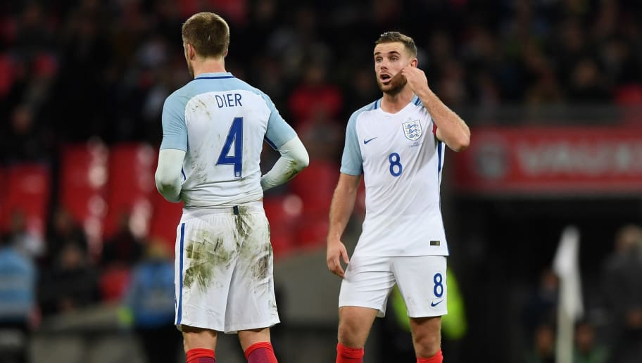 LONDON, ENGLAND - NOVEMBER 15:  Jordan Henderson and Eric Dier of England in discussion during the international friendly match between England and Spain at Wembley Stadium on November 15, 2016 in London, England.  (Photo by Shaun Botterill/Getty Images)
