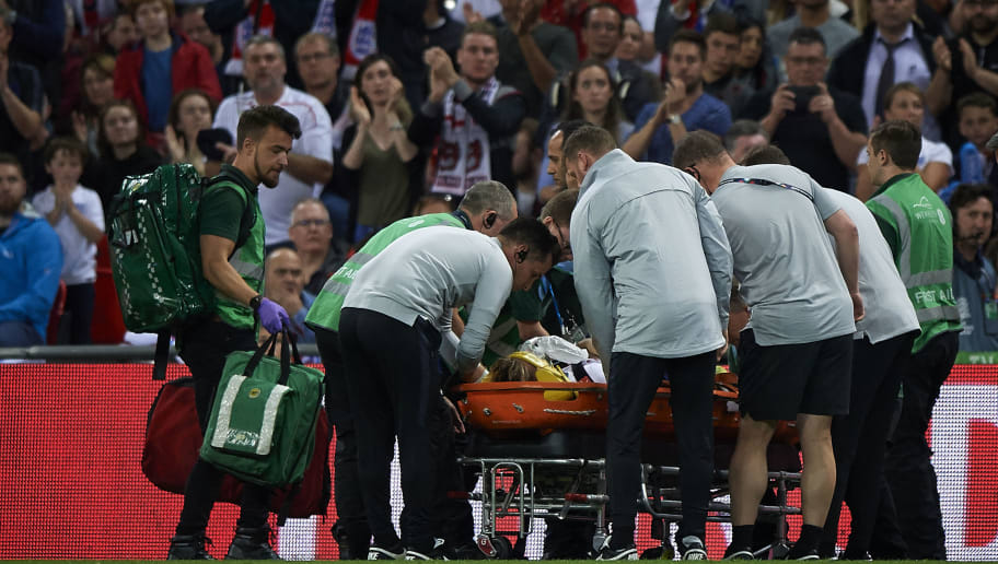 LONDON, ENGLAND - SEPTEMBER 08:  Luke Shaw of England is stretchered off the pitch following an injury during the UEFA Nations League A group four match between England and Spain at Wembley Stadium on September 8, 2018 in London, United Kingdom.  (Photo by Quality Sport Images/Getty Images)