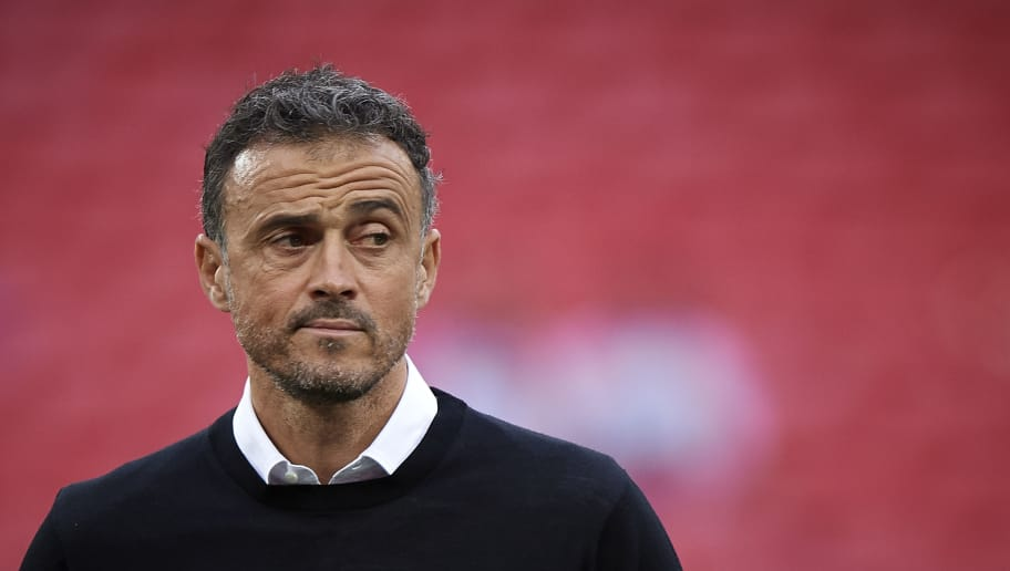 LONDON, ENGLAND - SEPTEMBER 08:  Spain manager, Luis Enrique looks on prior the UEFA Nations League A group four match between England and Spain at Wembley Stadium on September 8, 2018 in London, United Kingdom.  (Photo by Quality Sport Images/Getty Images)