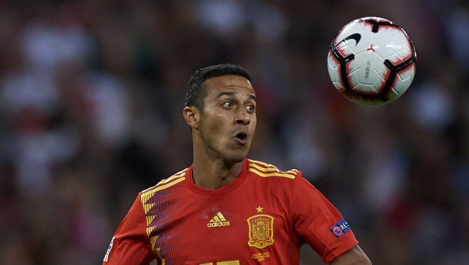 LONDON, ENGLAND - SEPTEMBER 08:  Thiago Alcantara of Spain in action during the UEFA Nations League A group four match between England and Spain at Wembley Stadium on September 8, 2018 in London, United Kingdom.  (Photo by Quality Sport Images/Getty Images)