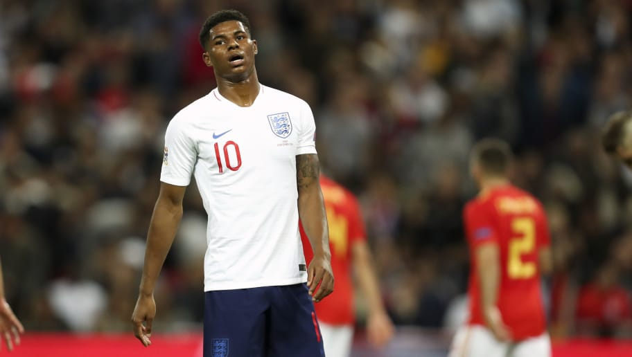 LONDON, ENGLAND - SEPTEMBER 08: Marcus Rashford of England reacts after missing a chance to score during the UEFA Nations League A group four match between England and Spain at Wembley Stadium on September 8, 2018 in London, United Kingdom. (Photo by James Baylis - AMA/Getty Images)
