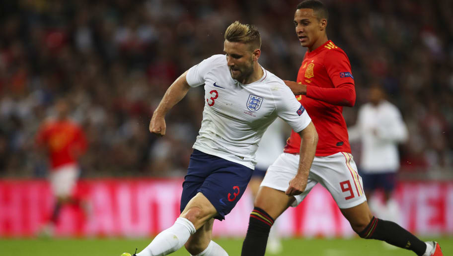 LONDON, ENGLAND - SEPTEMBER 08: Luke Shaw of England during the UEFA Nations League A group four match between England and Spain at Wembley Stadium on September 8, 2018 in London, United Kingdom. (Photo by Robbie Jay Barratt - AMA/Getty Images)