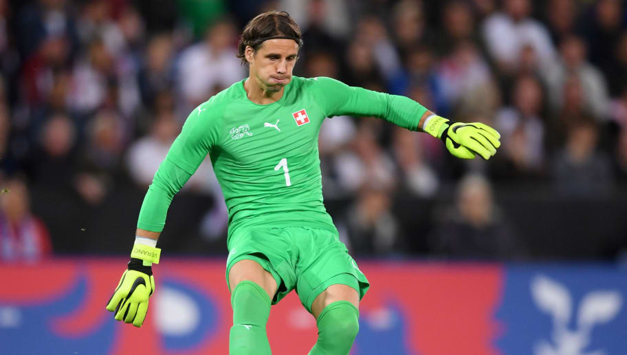 LEICESTER, ENGLAND - SEPTEMBER 11: Yann Sommer of Switzerland in action during the International Friendly match between England and Switzerland on September 11, 2018 in Leicester, United Kingdom. (Photo by Laurence Griffiths/Getty Images)