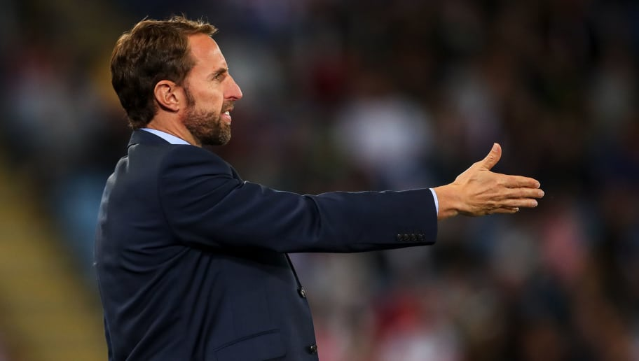 LEICESTER, ENGLAND - SEPTEMBER 11: Gareth Southgate the head coach / manager of England during the International Friendly match between England and Switzerland at The King Power Stadium on September 11, 2018 in Leicester, United Kingdom. (Photo by Robbie Jay Barratt - AMA/Getty Images)