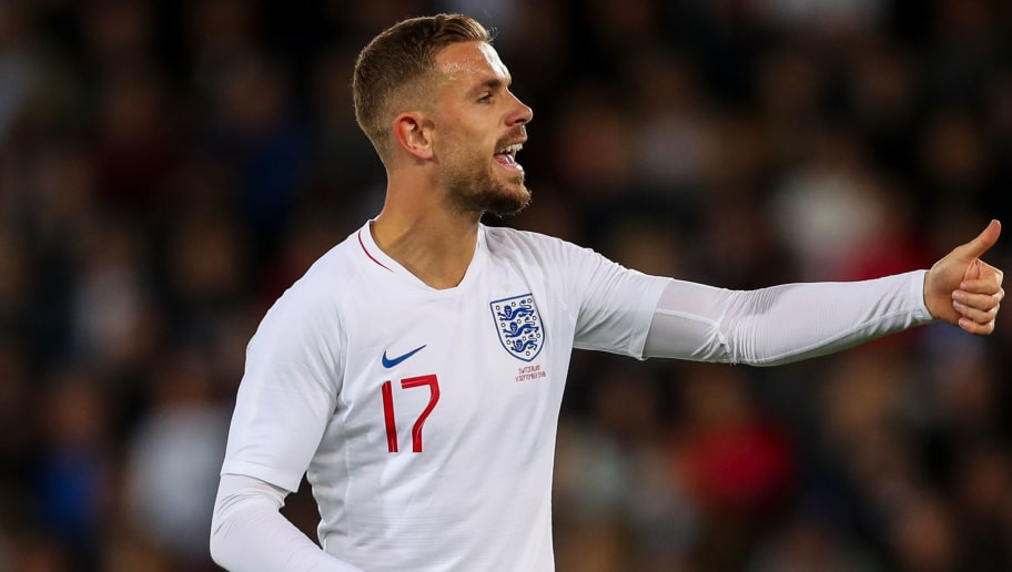 LEICESTER, ENGLAND - SEPTEMBER 11: Jordan Henderson of England during the International Friendly match between England and Switzerland at The King Power Stadium on September 11, 2018 in Leicester, United Kingdom. (Photo by Robbie Jay Barratt - AMA/Getty Images)