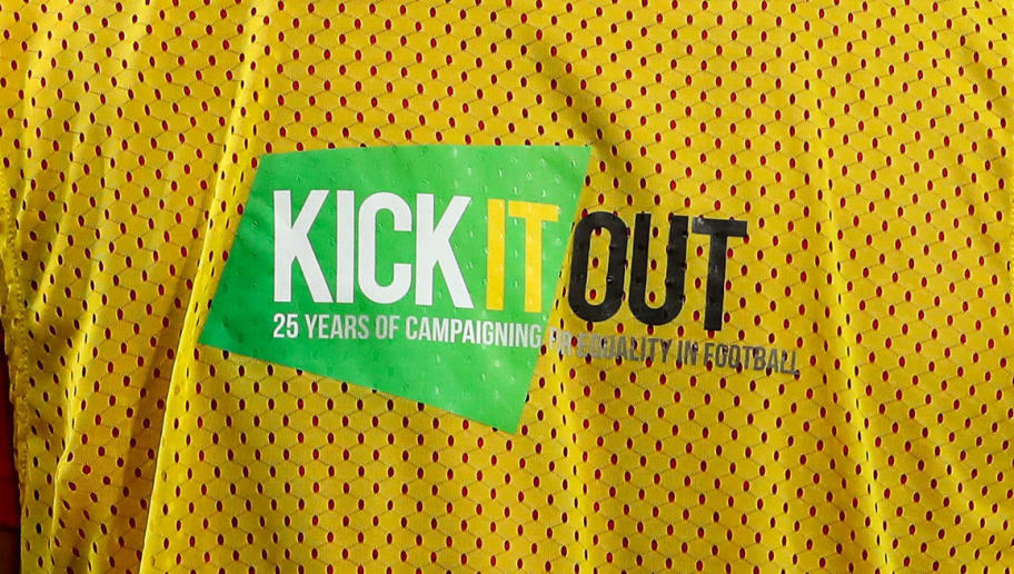 LEICESTER, ENGLAND - SEPTEMBER 11: Kick It Out branding is seen on the back fo a warm up bib during the International Friendly match between England and Switzerland at The King Power Stadium on September 11, 2018 in Leicester, United Kingdom. (Photo by Robbie Jay Barratt - AMA/Getty Images)