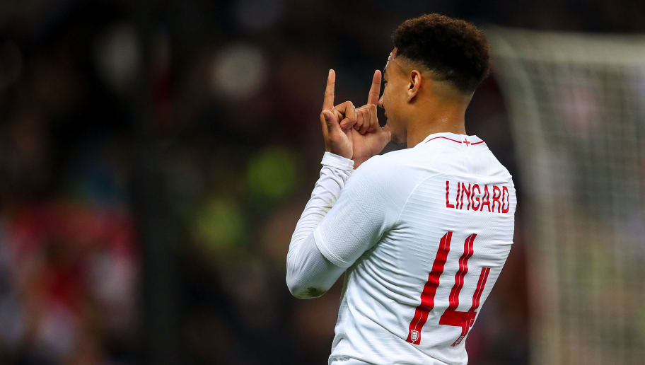 LONDON, ENGLAND - NOVEMBER 15: Jesse Lingard of England celebrates after scoring a goal to make it 1-0 during the International Friendly match between England and United States at Wembley Stadium on November 15, 2018 in London, United Kingdom. (Photo by Robbie Jay Barratt - AMA/Getty Images)