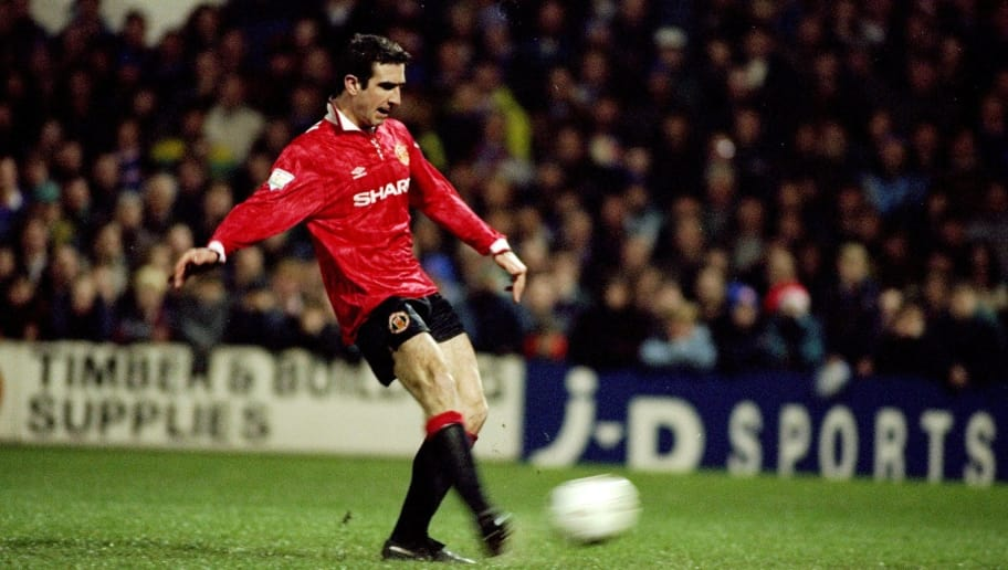 29 Dec 1993:  Eric Cantona of Manchester United scores from the penalty spot during an FA Carling Premiership match against Oldham Athletic at Boundary Park in Oldham, England. Manchester United won the match 5-2. \ Mandatory Credit: David  Rogers/Allsport