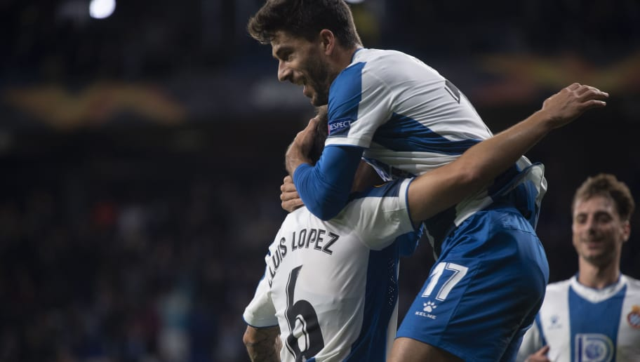 LLuis Lopez,Didac Vila,celebrate after scoring his team's second goal