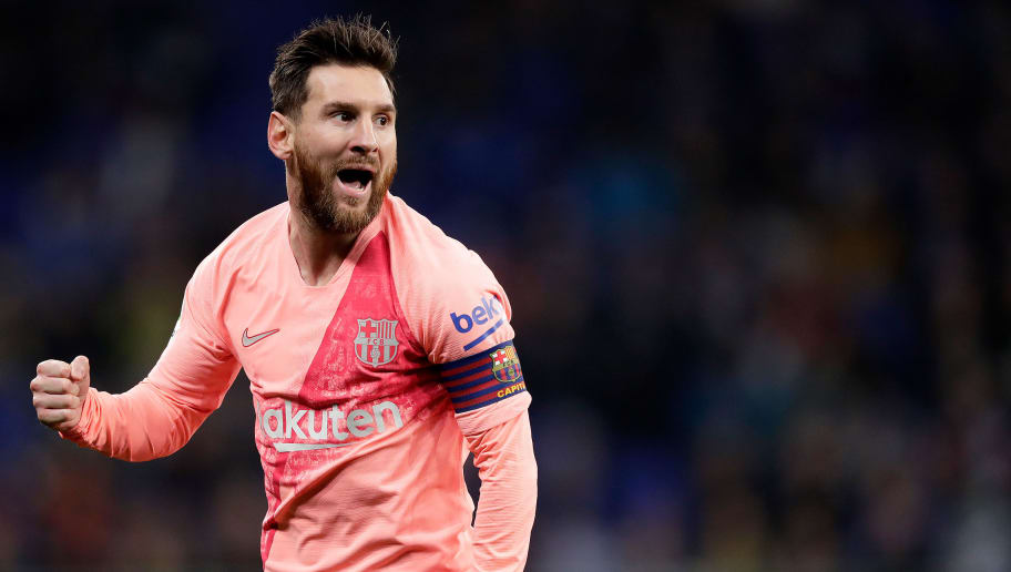 CORNELLA, SPAIN - DECEMBER 8: Lionel Messi of FC Barcelona celebrates during the La Liga Santander  match between Espanyol v FC Barcelona at the RCDE Stadium on December 8, 2018 in Cornella Spain (Photo by Jeroen Meuwsen/Soccrates/Getty Images)