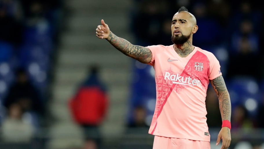 CORNELLA, SPAIN - DECEMBER 8: Arturo Vidal of FC Barcelona  during the La Liga Santander  match between Espanyol v FC Barcelona at the RCDE Stadium on December 8, 2018 in Cornella Spain (Photo by Jeroen Meuwsen/Soccrates/Getty Images)