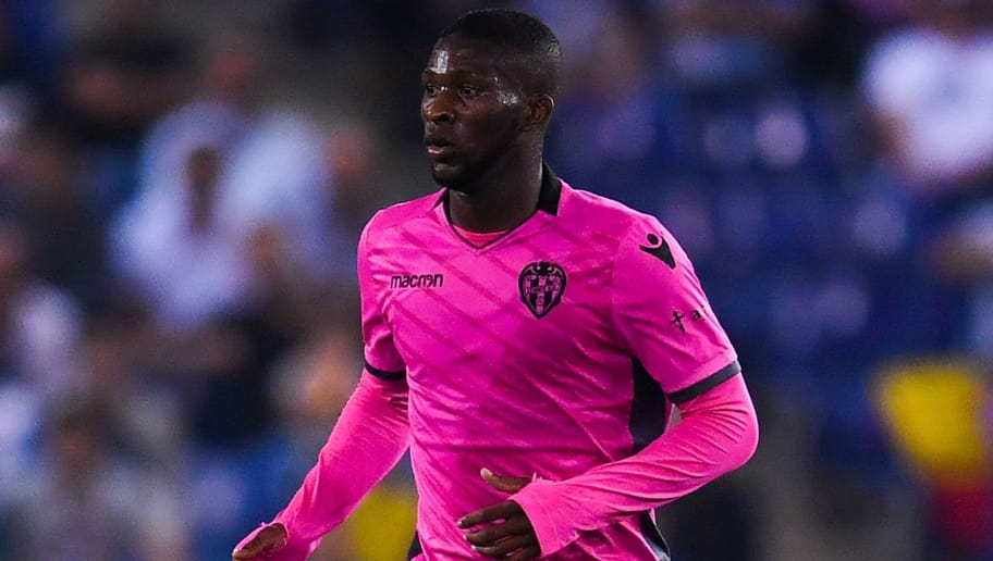 BARCELONA, SPAIN - OCTOBER 13:  Jefferson Lerma of Levante UD runs with the ball during the La Liga match between Espanyol and Levante at Cornella-El Prat stadium  on October 13, 2017 in Barcelona, Spain.  (Photo by David Ramos/Getty Images)