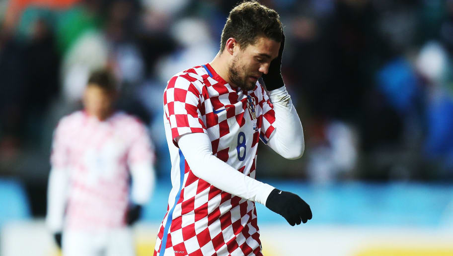 TALLINN, ESTONIA - MARCH 28:  Mateo Kovacic of Croatia looks dejected after the first half of international friendly between Estonia and Croatia at A. le Coq Arena on March 28, 2017 in Tallinn, Estonia.  (Photo by Joosep Martinson/Getty Images)